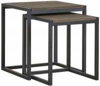 Mark Webster Montana Nest of 2 Tables - Dark Wood and Black Metal