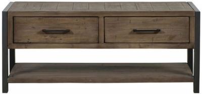 Mark Webster Montana Storage Coffee Table - Dark Wood and Black Metal