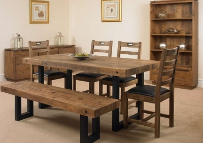 Mark Webster New York Dining Set - Fixed Top with 4 Chairs and Bench