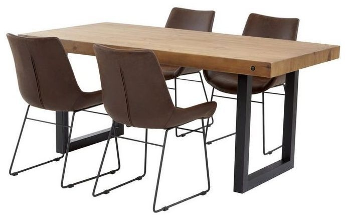 Mark Webster New York Reclaimed Pine Rectangular Dining Set with 4 Faux Leather Scoop Chair - 180cm