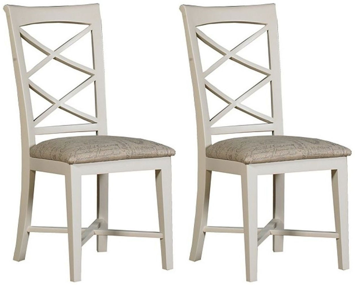 Mark Webster Padstow Painted Cross Back Dining Chair with Fabric Seat Pad (Pair)