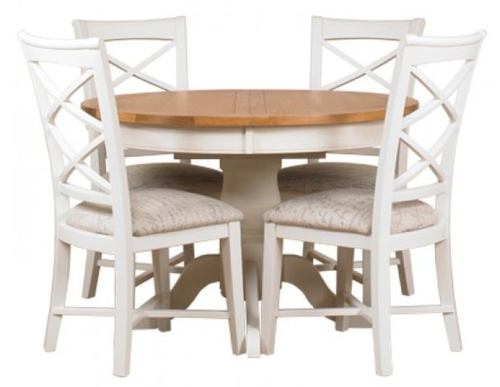 Mark Webster Padstow Painted Dining Set - Round Extending with 4 Cross Back Chairs