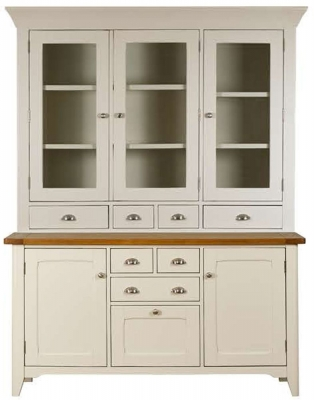 Mark Webster Padstow Painted Sideboard with Glazed Hutch - Large 3 Door 4 Drawer