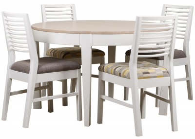 Mark Webster Painted Geo Dining Set - Round Extending with 4 Painted White Chairs