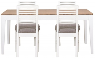 Mark Webster Painted Geo Dining Set - Small Extending with 4 Painted White Chairs