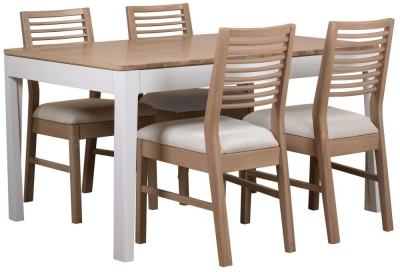 Mark Webster Painted Geo Dining Set - Small Extending with 4 White Wash Oak Chairs