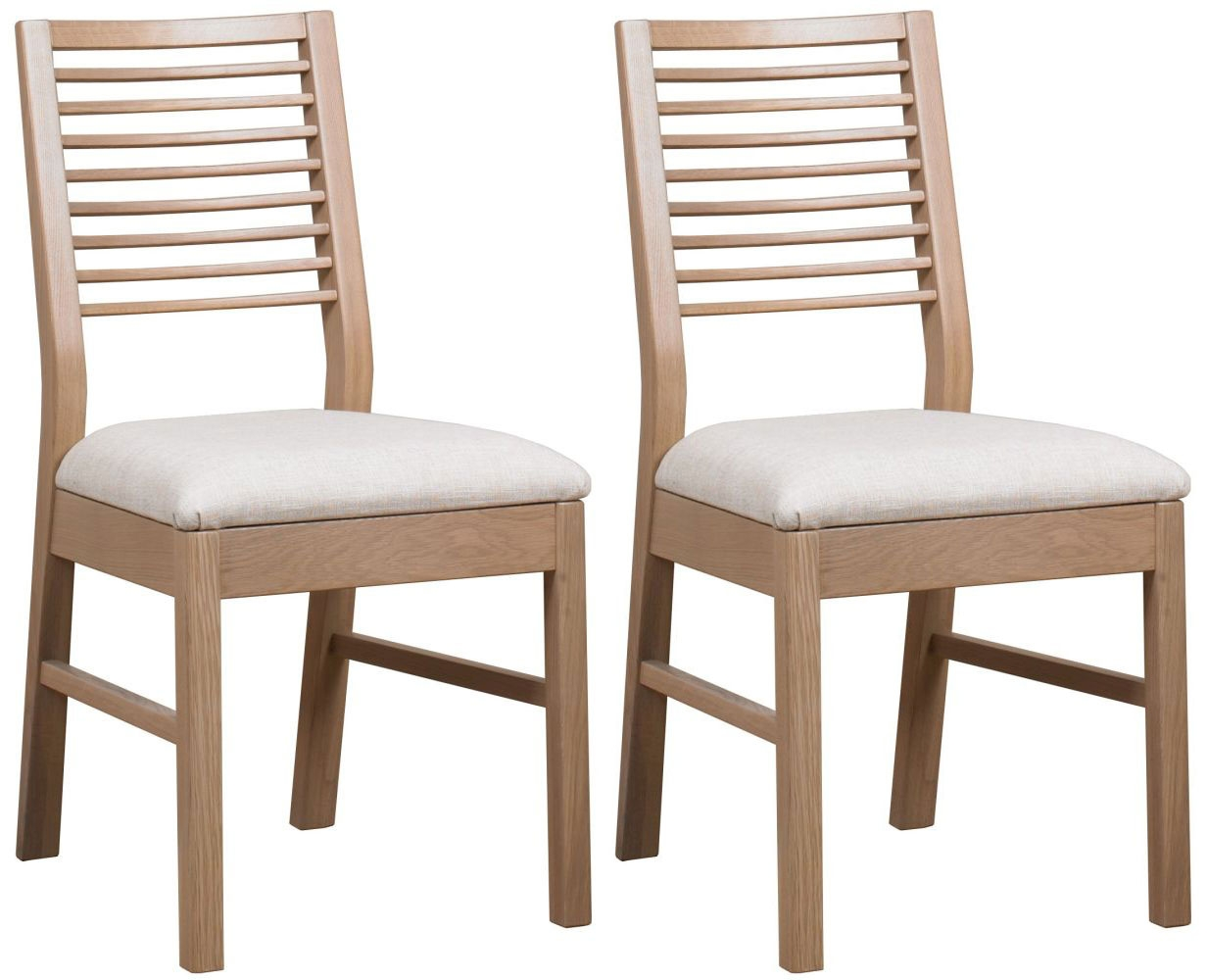 Mark Webster Painted Geo Oak Dining Chair with Fabric Seat Pad (Pair)