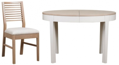 Mark Webster Painted Geo Dining Set - Round Extending with 4 White Wash Oak Chairs