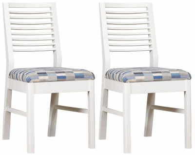 Mark Webster Painted Geo Painted White Dining Chair (Pair)