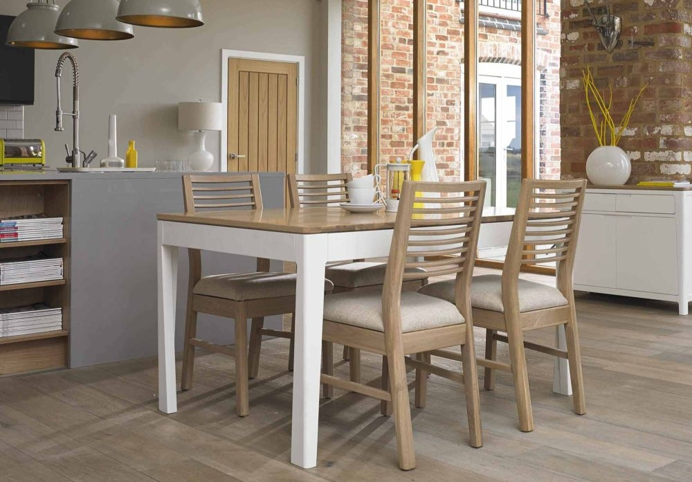 Mark Webster Painted Geo Dining Set - Large Extending with 4 White Wash Oak Chairs