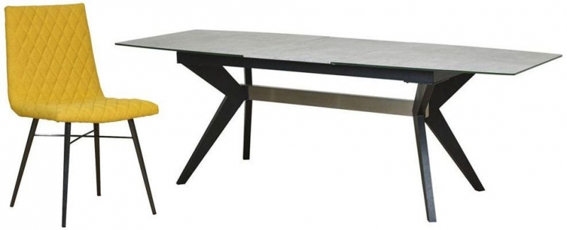 Mark Webster Soho Concrete Effect Rectangular Extending Dining Set with 6 Yellow Fabric Chairs - 180cm-230cm