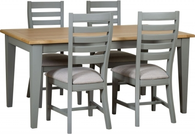 Mark Webster Waterford Dining Table and 4 Painted Chairs - Oak and Grey