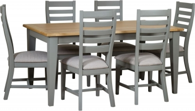 Mark Webster Waterford Dining Table and 6 Painted Chairs - Oak and Grey