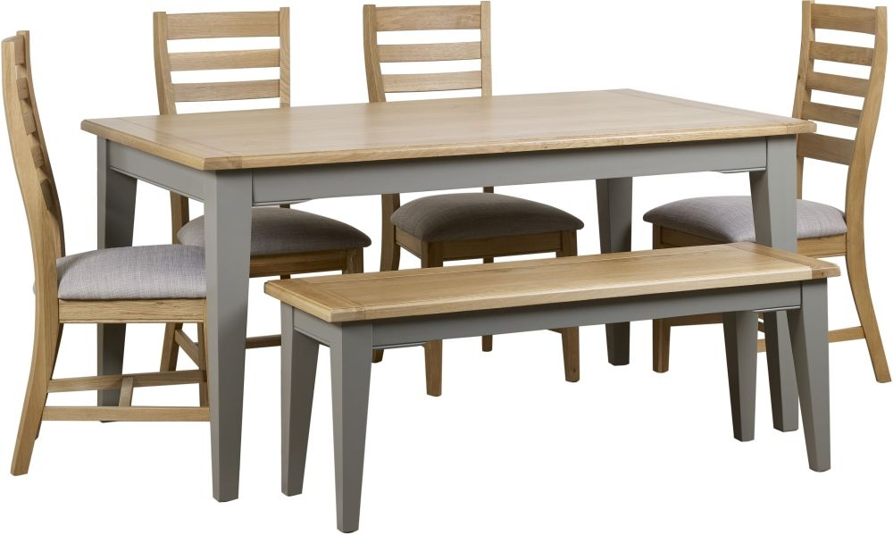 Mark Webster Waterford Dining Table and 4 Chairs and Bench - Oak and Grey