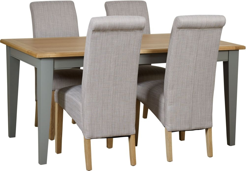 Mark Webster Waterford Dining Table and 4 Darcy Chairs - Oak and Grey