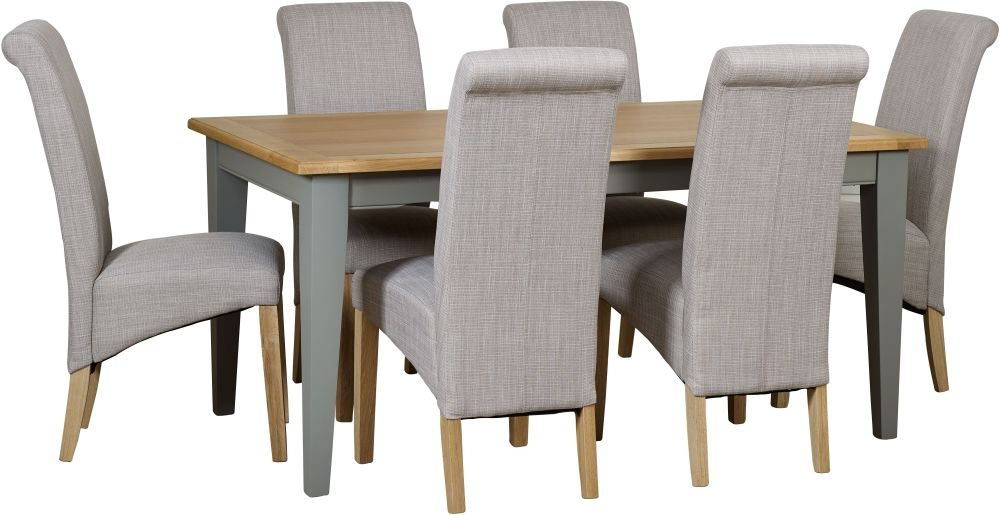 Mark Webster Waterford Dining Table and 6 Darcy Chairs - Oak and Grey