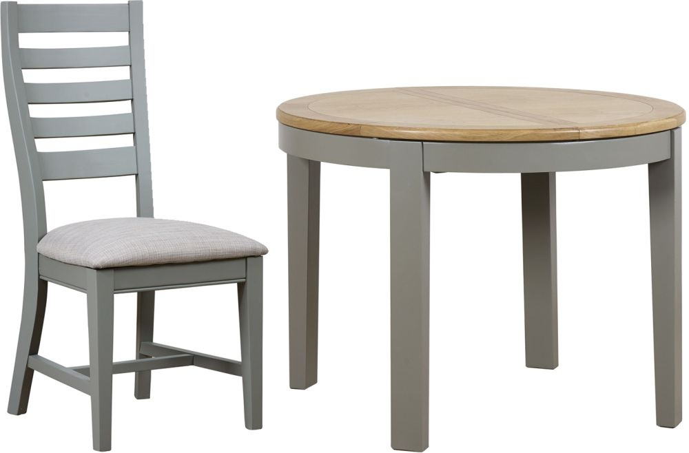 Mark Webster Waterford Round Extending Dining Table and 4 Painted Chairs - Oak and Grey