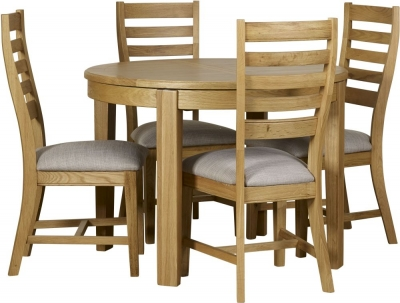 Mark Webster Westport Oak Round Extending Dining Table and 4 Chairs