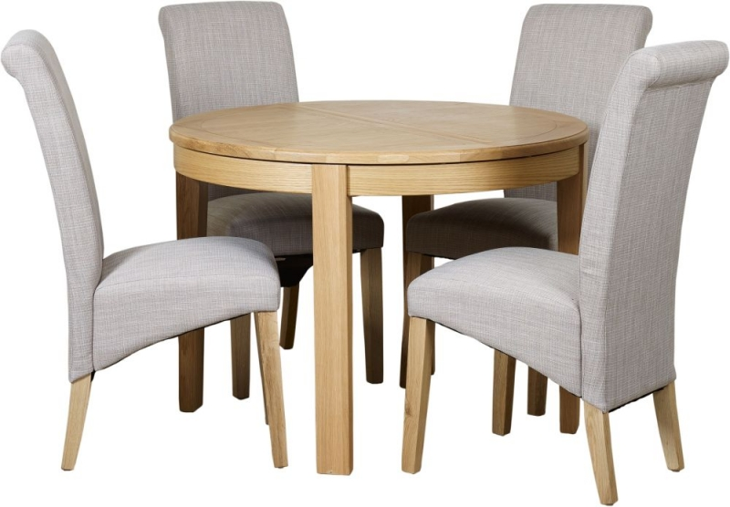 Mark Webster Westport Oak Round Extending Dining Table and 4 Darcy Chairs