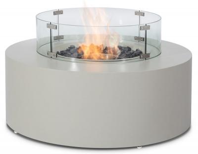 Maze Rattan Lounge Pebble White Round Gas Fire Pit