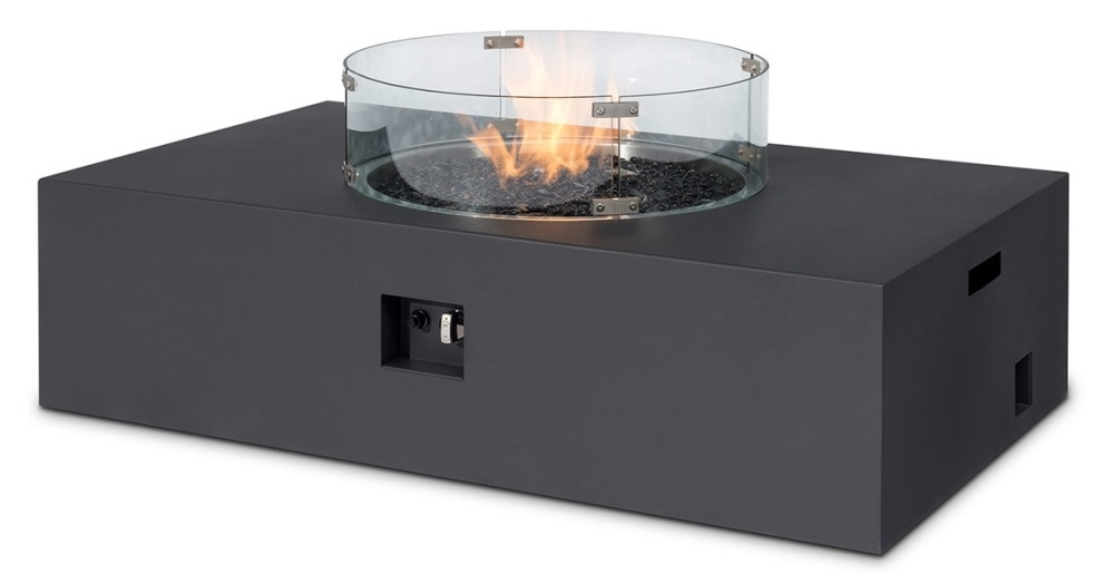 Maze Rattan Lounge Charcoal Rectangular Gas Fire Pit