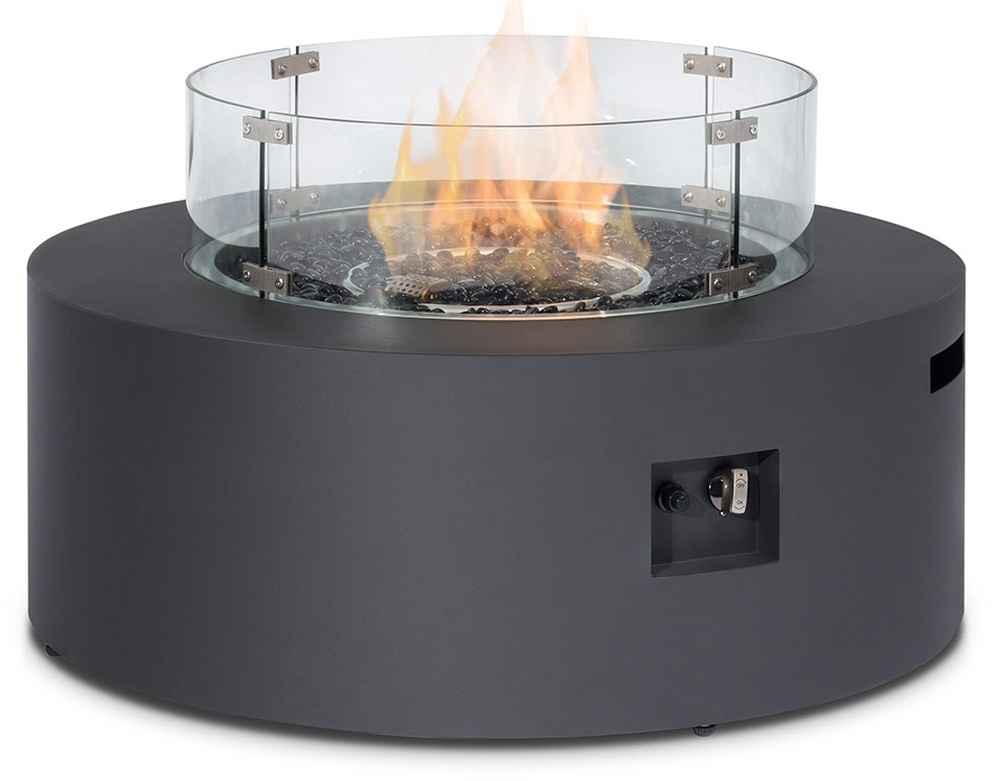 Maze Rattan Lounge Charcoal Round Gas Fire Pit