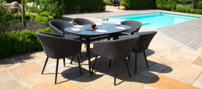 Maze Lounge Outdoor Ambition Charcoal Fabric 6 Seat Oval Dining Set
