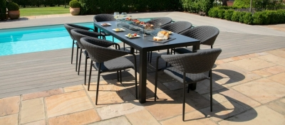 Maze Lounge Outdoor Pebble Charcoal Fabric 8 Seat Rectangular Dining Set with Fire Pit Table