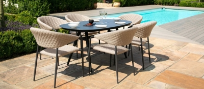 Maze Lounge Outdoor Pebble Taupe Fabric 6 Seat Oval Dining Set