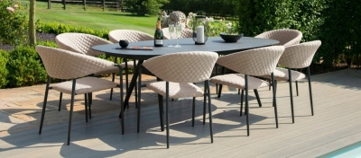 Maze Lounge Outdoor Pebble Taupe Fabric 8 Seat Oval Dining Set