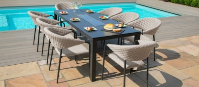 Maze Lounge Outdoor Pebble Taupe Fabric 8 Seat Rectangular Dining Set with Fire Pit Table