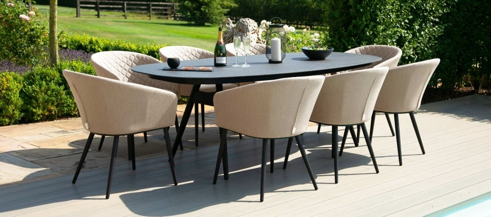 Maze Lounge Outdoor Ambition Taupe Fabric 8 Seat Oval Dining Set