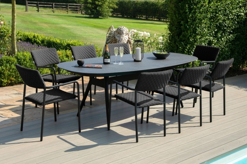 Maze Lounge Outdoor Bliss Charcoal Fabric 8 Seat Oval Dining Set