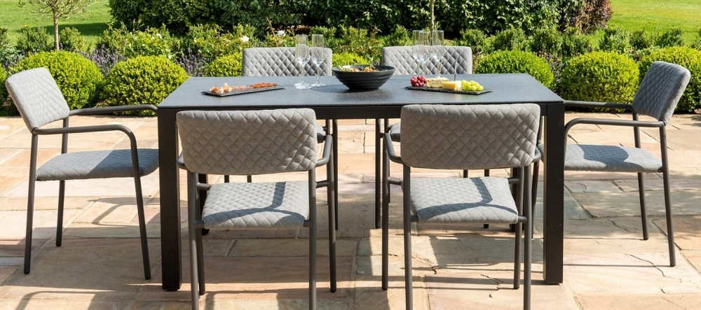 Maze Lounge Outdoor Bliss Flanelle Fabric 6 Seat Rectangular Dining Set
