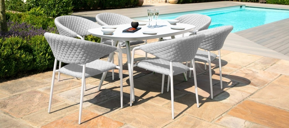 Maze Lounge Outdoor Pebble Lead Chine Fabric 6 Seat Oval Dining Set