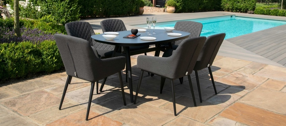 Maze Lounge Outdoor Zest Charcoal Fabric 6 Seat Oval Dining Set