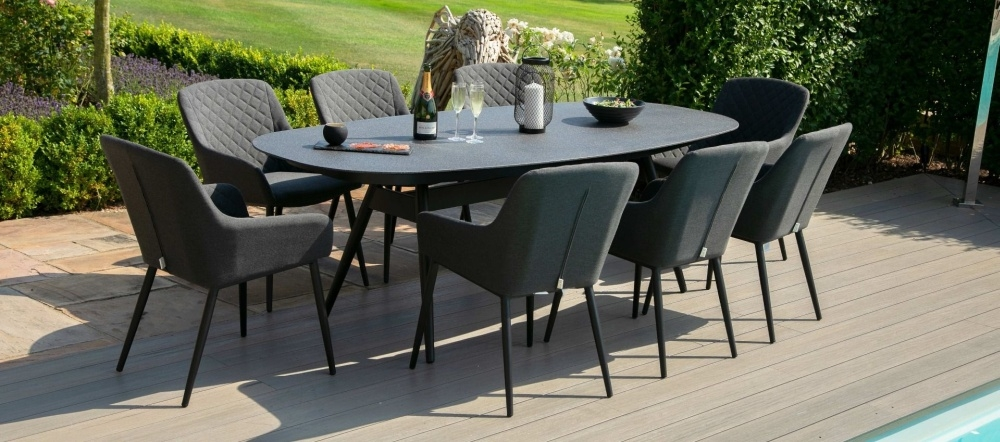 Maze Lounge Outdoor Zest Charcoal Fabric 8 Seat Oval Dining Set