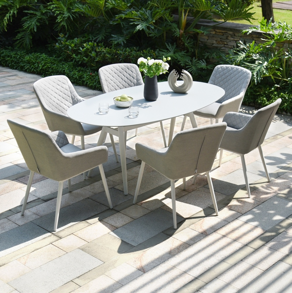 Maze Lounge Outdoor Zest Lead Chine Fabric 6 Seat Oval Dining Set