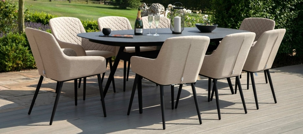 Maze Lounge Outdoor Zest Taupe Fabric 8 Seat Oval Dining Set