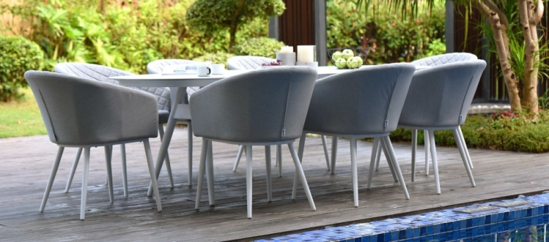 Maze Lounge Outdoor Ambition Lead Chine Fabric 8 Seat Oval Dining Set