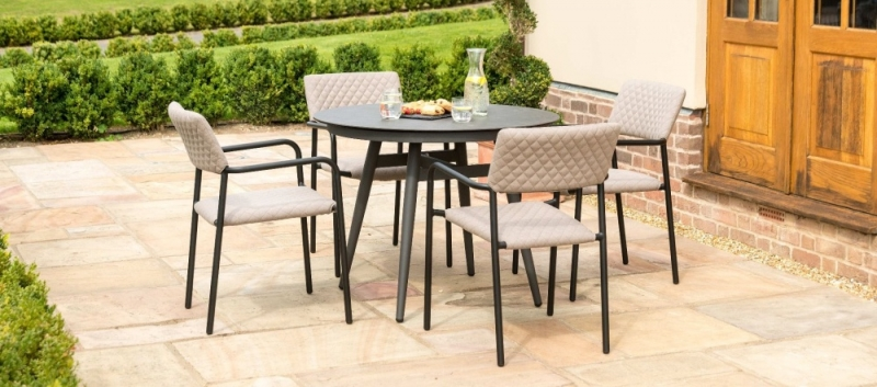 Maze Lounge Outdoor Bliss Taupe Fabric 4 Seat Round Dining Set