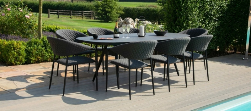 Maze Lounge Outdoor Pebble Charcoal Fabric 8 Seat Oval Dining Set