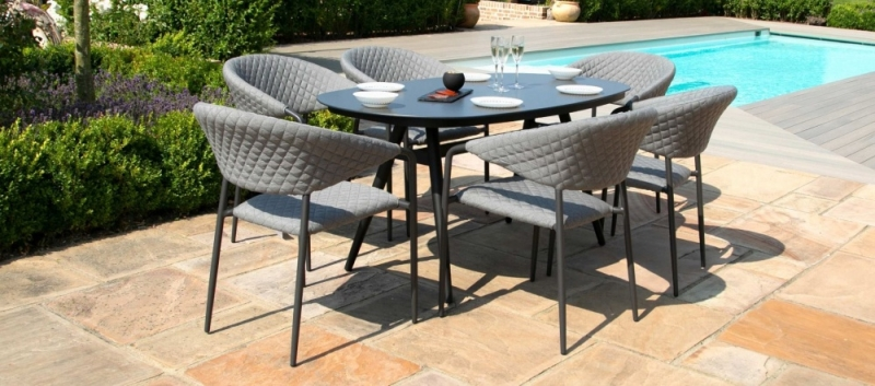 Maze Lounge Outdoor Pebble Flanelle Fabric 6 Seat Oval Dining Set