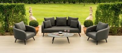 Maze Lounge Outdoor Ambition Charcoal Fabric 3 Seat Sofa Set