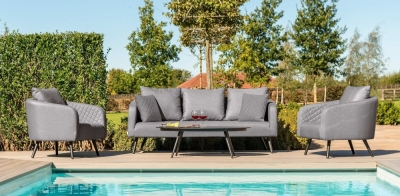 Maze Lounge Outdoor Ambition Flanelle Fabric 3 Seat Sofa Set