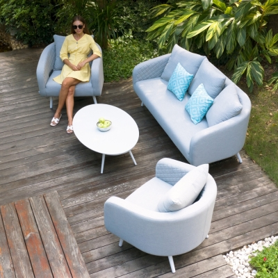 Maze Lounge Outdoor Ambition Lead Chine Fabric 3 Seat Sofa Set