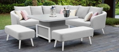Maze Lounge Outdoor Ambition Lead Chine Fabric Square Corner Dining Set with Rising Table