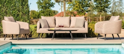 Maze Lounge Outdoor Ambition Taupe Fabric 3 Seat Sofa Set