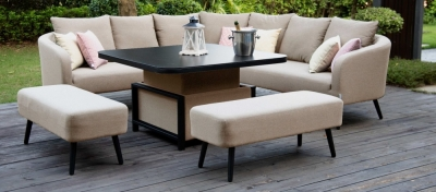 Maze Lounge Outdoor Ambition Taupe Fabric Square Corner Dining Set with Rising Table