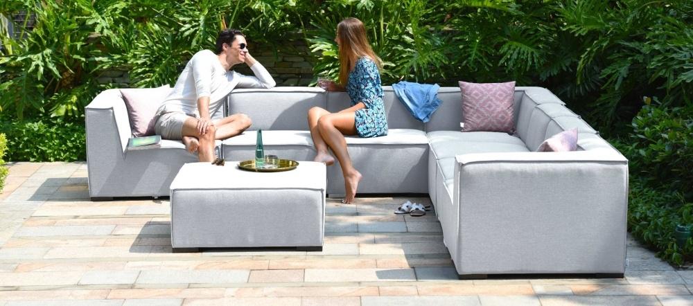 Maze Lounge Outdoor Apollo Lead Chine Fabric Large Corner Sofa Group